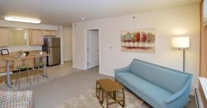 The living room of a Thomas Center apartment.